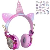 Unicorn Gifts Kids Headphones Upgraded Wireless Bluetooth Headset w/Mic Adjustable Headband, Over On Ear Headsets for Girls Teens School Kindle Tablet PC (Rose Gold)