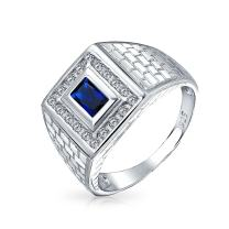 Geometric Rectangle 2CT Emerald Cut AAA CZ Bezel Halo Mens Engagement Ring Simulated Sapphire Black Onyx Band For Men