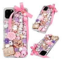 iPhone 11 Pro Max Case - Mavis's Diary 3D Handmade Luxury Bling Diamonds Crown Handbag Pink Floral Golden Key Crystal Glitter Rhinestones Gems Clear Hard PC Cover for iPhone 11 Pro Max