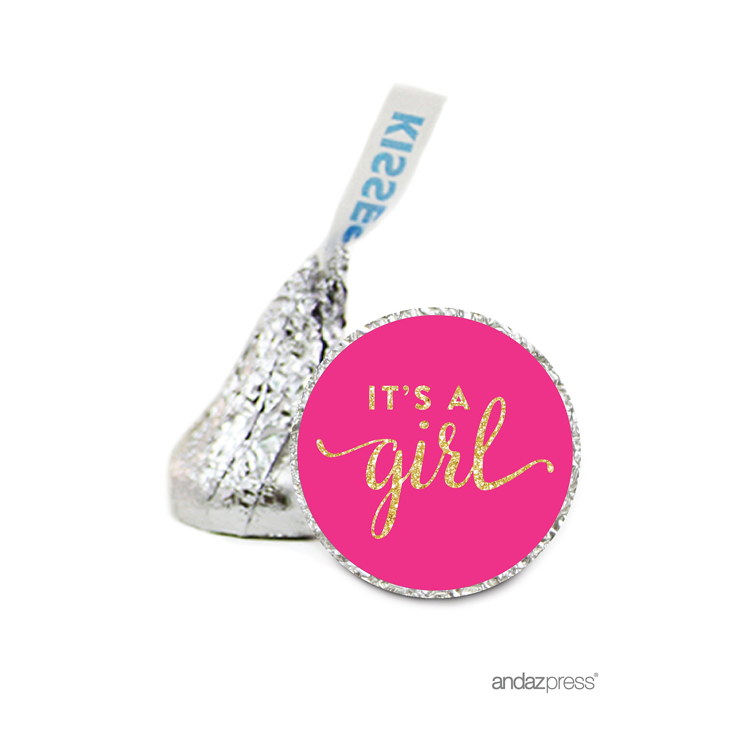 Andaz Press Chocolate Drop Labels Stickers Single, Baby Shower, It's a Girl Fuchsia Pink and Gold Glitter, 216-Pack, For Hershey's Kisses Party Favors, Gifts, Decorations