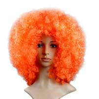 KATCOCO BIG SIZE Orange Hippie Afro Wigs Colorful Afro Wigs Cosplay Party Wigs 200g (ORANGE)