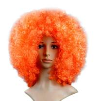 KATCOCO BIG SIZE Orange Hippie Afro Wigs Colorful Afro Wigs Cosplay Party Wigs 200g (ORANGE)