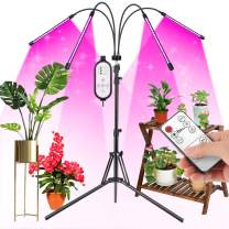Grow Lights for Indoor Plants, JIGUOOR Upgrade 10 Dimmable Levels 80W Full Spectrum Floor LED Plant Light with Stand, 4/8/12H Timer, Adjustable Stand & Gooseneck, Auto ON/Off, with Remote Control