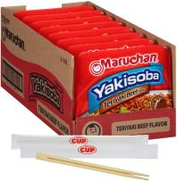 By The Cup Chopsticks and Soup Bundle - Maruchan Yakisoba Teriyaki Beef Flavor 4 Ounce Single Serving Home-style Japanese Noodles - (Pack of 8)