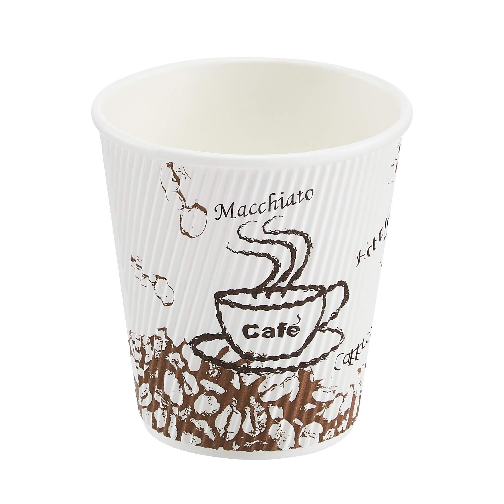 AmazonBasics Insulated Ripple Wall Hot Cup, Café Design, 10 oz, 240-Count
