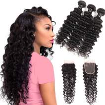 Miss Flower Human Hair Deep Wave Bundles With Closure(12 14 16+10 closure), Premium Peruvian Deep Curly Hair With Closure Unprocessed Human Hair Extensions Bundles And Closure Free Part