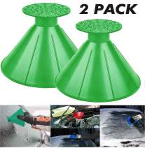 UNIHAO Car Ice Scraper, Round Windshield Ice Scrapers, Magic Cone Car Windshield Ice Scrapers, Snow Removal Shovel Tool, Car Funnel, 2 Pack, Green