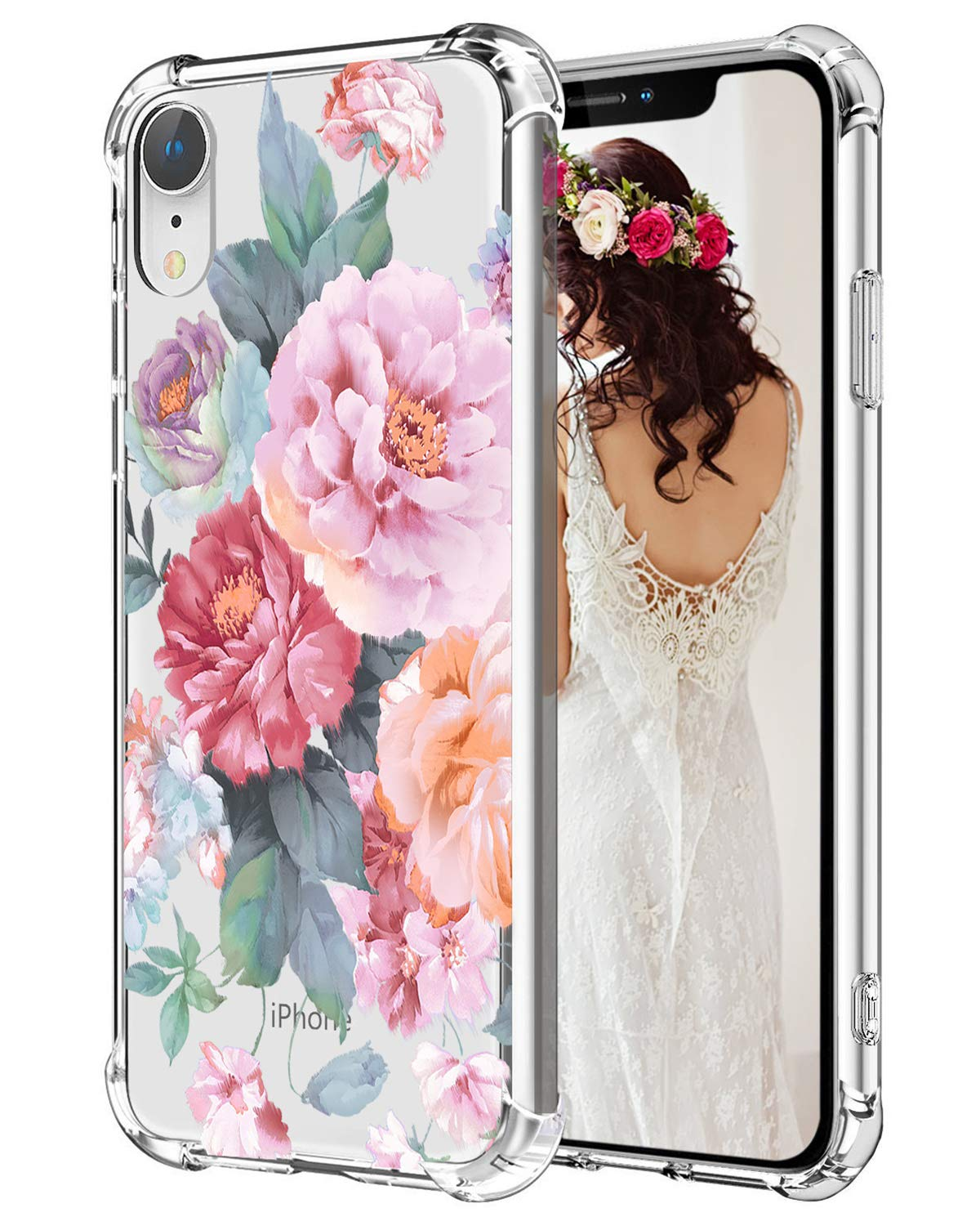 """Hepix iPhone XR Clear Case Penoy Flowers Floral Xr Cases, Clear Protective TPU Xr Phone Cover with Reinforced Bumpers, Anti-Scratch Shock Absorbing Case for iPhone XR (2018) 6.1"""""""