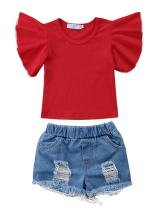 Canis Kids Little Baby Girls Fly Sleeve T-Shirt Top and Holes Denim Shorts Outfit 2Pcs Set