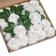 YSBER Roses Artificial Flowers - 50Pcs Big PE Foam Rose Artificial Flower Head for DIY Wedding Bouquets Centerpieces Bridal Shower Party Home Decorations (50 PCS, White)