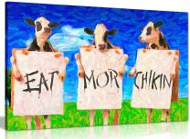 Cows Eat More Chicken Oil Painting Reproduction Canvas Wall Art Picture Print (36x24in)