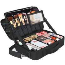 Large Travel Makeup Bag, Professional Cosmetic Makeup Train Case with Mirror, Waterproof Cosmetics Organizer Bag with Adjustable Divider Portable Makeup Storage Bag 16.5 Inch for women, Black