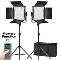 GVM 672S Master Series LED Video Lighting Kit with Stand and Wireless Intelligent Remote Control CRI97 Dimmable 3200K-5600K Video Lights for YouTube Studio Photography Outdoor Video Shooting