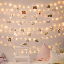 Minetom Photo Clip String Lights,16.4Ft 50 LEDs Fairy Lights Battery Operated,Timer, with 8 Lighting Modes Loop, Room Lights for Hanging Photos Cards Birthday Wedding Party Home Decor, 49 Clear Clips