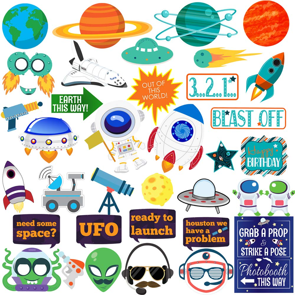 Outer Space Photo Booth Props, 41pcs BizoeRade Astronaut and Alien Photo Booth Props, Outer Space Decorations perfect for Outer Space Birthday Party, Rocket Ship Baby Shower