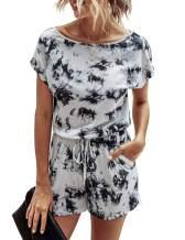 Saslax Womens Rompers Summer Crewneck Floral Camouflage Print Short Sleeves Short Pants Jumpsuit with Pockets Elastic Waist