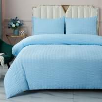 DuShow Blue Twin Duvet Cover Boys Kids Duvet Cover Set Seersucker Washed Cotton Soft Comforter Cover Set with Zipper Closure