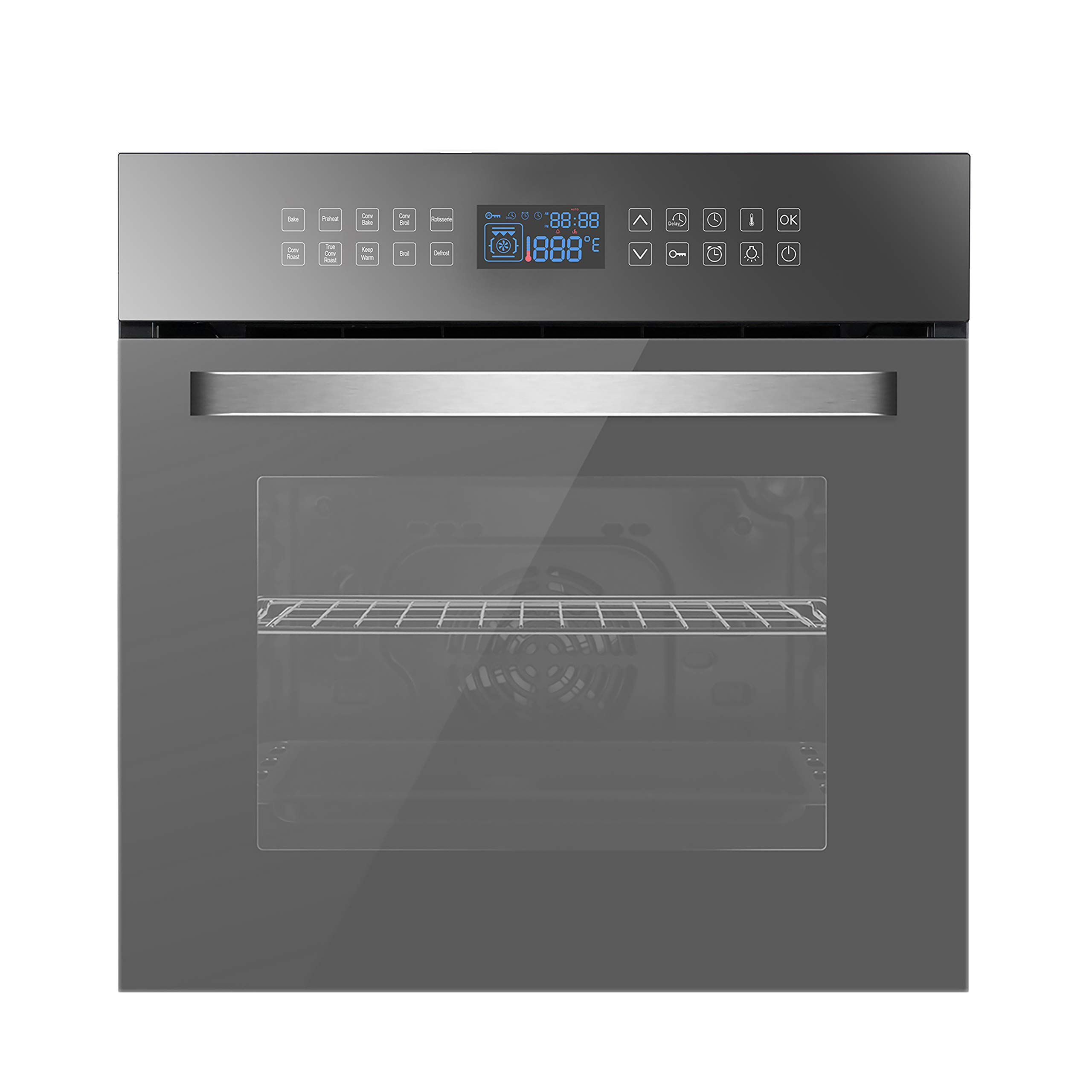 Empava 24 Inch Electric Convection Single Wall 10 Cooking Functions Deluxe 360° ROTISSERIE with Sensitive Touch Control in Silver Mirror Glass, Black
