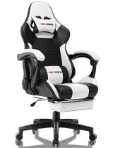 Gaming Chair Computer Office Chair Ergonomic Desk Chair with Footrest Racing Executive Swivel Chair Adjustable Task Chair (Black/Ivory)