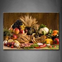 Brown Fresh Food Grape Apple Fruit in Basket Bread Oion Little Tomato Sweet Pepper Cauliflower Wheat Gather On The Table Wall Art Painting The Picture Print On Canvas Food Pictures for Home Decor