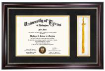 GraduationMall 11x17 Graduation Diploma Tassel Frame for 8.5x11 Certificate Document with Black Gold Double Mat|Real Glass|Tassel Holder