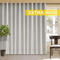 cololeaf Room Darkening Linen Curtain for Sliding Door Energy Saving Faux Linen Curtain for Living Room, Primitive Burlap Textured Linen Room Divider Curtain, Sand White 100W x 84L Inch (1 Panel)