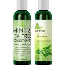 Dandruff Shampoo and Conditioner with Tea Tree Oil - Argan Oil Hair Growth Therapy - Lice Treatment for Kids - Hair Loss Products for Men Hair Loss Prevention for Women - With Lavender Aloe & Menthol