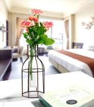 "pearlstar Flower Glass Vase Metal Flower Vase Iron Art Cylinder Flower Terrarium Planter Rose Glass Vase Planter Pot for Centerpiece Table Wedding Home Indoor Decoration,4.3""/4.3""/9.2"" Copper"