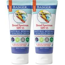 Badger - SPF 35 Zinc Oxide Sport Sunscreen Cream - Unscented - Broad Spectrum Water Resistant Reef Safe Sunscreen, Natural Mineral Sunscreen with Organic Ingredients 2.9 fl oz - 2 pack