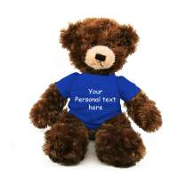 Plushland Chocolate Brandon Teddy Bear 12 Inch, Stuffed Animal Personalized Gift - Custom Text on - Great Present for Mothers Day, Valentine Day, Graduation Day, Birthday (Royal Blue Shirt)