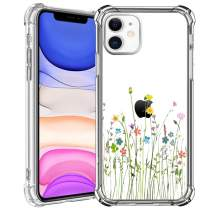 HBorna Case for iPhone 11, Soft Silicone Clear Cover for Women, with Design Floral Pattern, Slim Protective TPU Case for 2019 iPhone 11 6.1 Inch, Bouquet