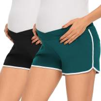 CareGabi 2 Packs Women's Maternity Shorts Cotton Stretchy Athletic Workout Shorts Underbelly Pregnancy Shorts Pants
