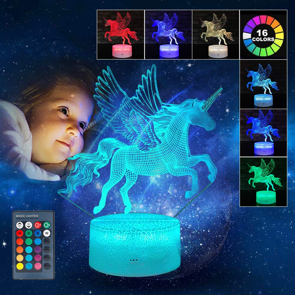 BFYWB 3-12 Year Old Girl Christmas Birthday Gifts, 3D LED Night Light for Kids 2-6 Year Old Unicorn Gifts Toys for 2-10 Year Old Girl