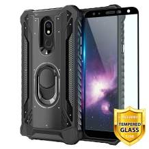 TJS Phone Case for LG K40/K12 Plus/X4/Solo LTE/Harmony 3/Xpression Plus 2, with [Full Coverage Tempered Glass Screen Protector] Aluminum Ring Stand Magnetic Support Built-in Metal Plate Back (Black)