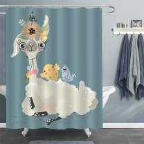 "MitoVilla Cute Llama and Friend Animals Shower Curtain, Cartoon Llama with Floral Wreath and Baby Birds Bathroom Decor for Women, Girls, Wildlife Lovers Llama Themed Gifts, 72"" W x 72"" L Standard"