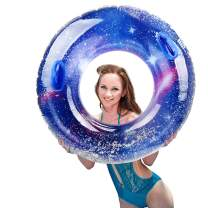 """IAMGlobal Glitter Pool Float, Inflatable Blue Swim Ring with Handle, Colorful Swim Party Toys, Party Lounge Raft, Swimming Float, Beach Floatie for Fun (39.3"""")"""