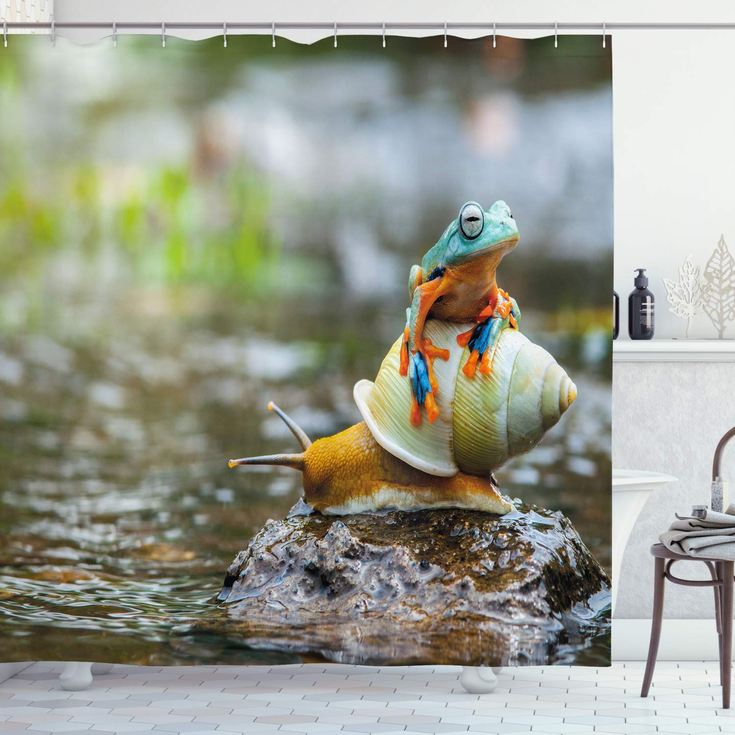 """Ambesonne Funny Shower Curtain, Colorful Frog Above The Snail Riverscape Water Rock Mollusks Amphibian Animals, Cloth Fabric Bathroom Decor Set with Hooks, 70"""" Long, Aqua Beige"""