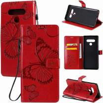 MEUPZZK Wallet Case for LG Stylo 6, Embossed Butterfly Premium PU Leather [Folio Flip][Kickstand][Card Slots][Wrist Strap][6.8 inch] Phone Cover for LG Stylo 6 (B-Red)