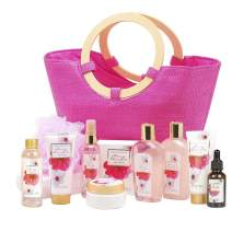 Green Canyon Spa Mothers Day Gift Spa Baskets for women in Pink Tote Bag 12 Pcs Spa Gift Sets Cherry Blossom Collective Birthday Gift for Her