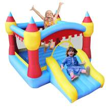 RETRO JUMP Bouncer House, Kids Inflatable Bouncer with Slide, Jumper Castle with Blower, Ideal for Indoor & Outdoor, Patch Kits Included