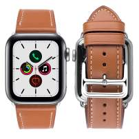 iBazal Compatible with iWatch Band 38mm 40mm,Genuine Leather Bands Replacement Strap for iWatch Series 4 40mm Series 3 Series 2 Series 1 38mm Sport&Edition Men Women - 38/40mm Brown+Silver Clasp
