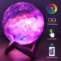 HYODREAM 3D Printing Moon Lamp Moon Light Kids Night Light 16 Color Change Touch and Remote Control Galaxy Light As a Gift Ideas for Boys or Girls(5.9inch)