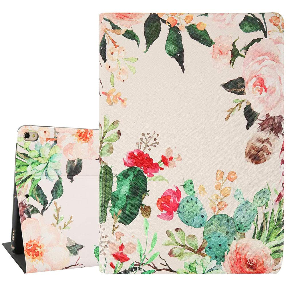 Hi Space Rose Flower iPad Air 3 10.5 Case 2019, Cactus Floral iPad Pro 10.5 Case, Pink Folio Stand Hard Shell Smart Case Cover with Auto Wake/Sleep Function for A2123 A2152 A2153 A2154 A1701 A1709