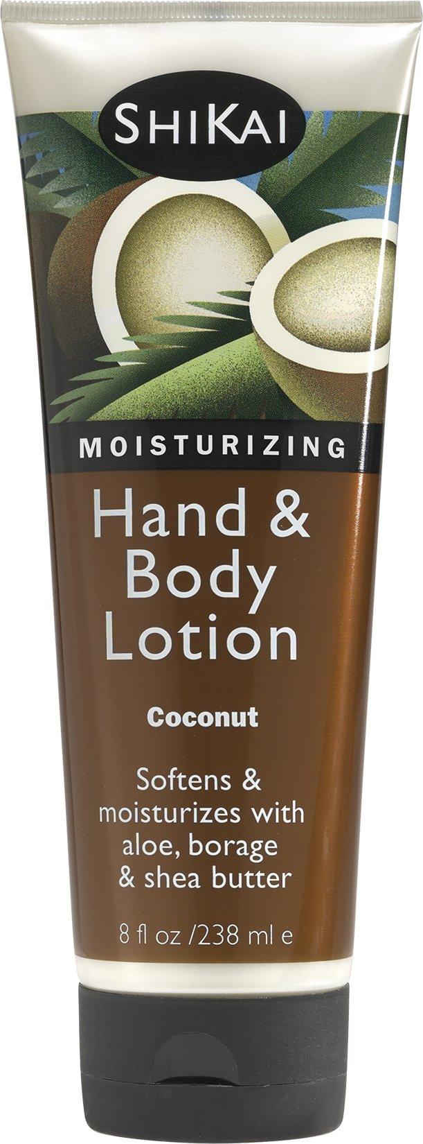 Shikai - Natural Moisturizing Hand & Body Lotion, Softens & Moisturizes Skin with Aloe Vera, Borage Oil & Shea Butter, Sensually Smooth Skin with Delicious Fragrances (Coconut, 8 Ounces)
