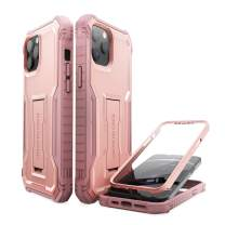 ExoGuard Compatible with iPhone 12 Pro Max Case, Rubber Shockproof Full-Body Cover Case Built-in Screen Protector with Kickstand for iPhone 12 Pro Max 6.7 inch Phone (Pink)