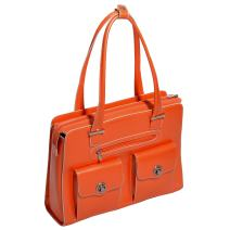 "McKleinUSA W Series, Verona, Top Grain Cowhide Leather, 15"" Leather Fly-Through Checkpoint-Friendly Ladies' Laptop Briefcase, Orange (96620)"