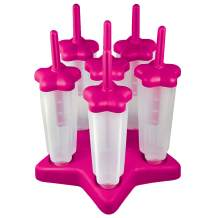 Tovolo Star Ice Pop Mold Popsicle Maker, Drip-Guard, Sturdy Base, 4 Fluid Oz, Set of 6, Pink