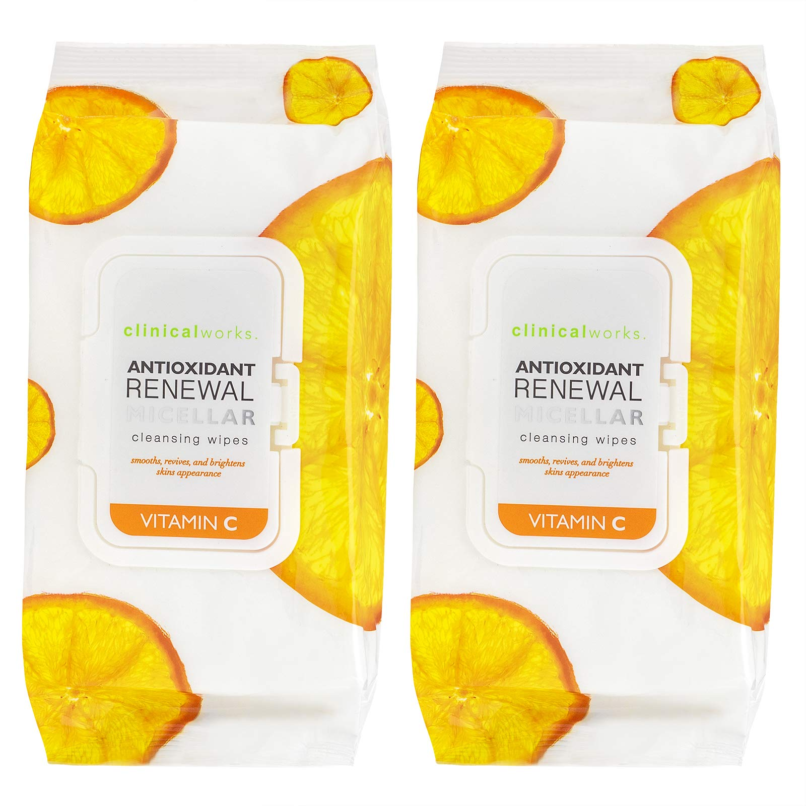 Clinical Works - 2 Pack (60 Count Each) Vitamin C Antioxidant Micellar Cleansing Wipes
