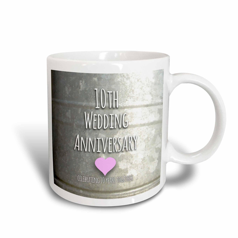 3dRose 154441_6 10th Wedding Anniversary gift Mug, 11 oz, Blue