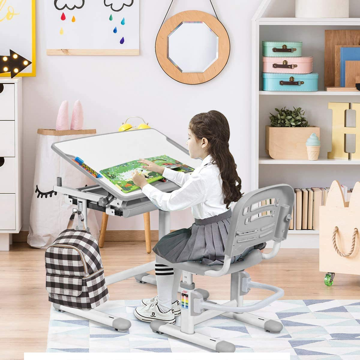 Pencil Case 40/° Tilt Desktop for Boys Girls Bookstand Pink Height Adjustable Children School Student Learning Study Desk Chair Set w//Pull Out Drawer Binrrio Kids Table and Chair Set